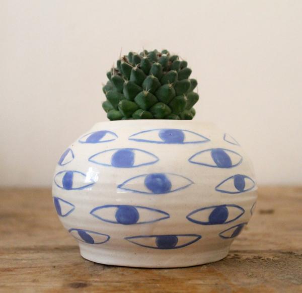 kinska, ceramic, eyes, plant, planters, succulents, garden pot, garden, gardening