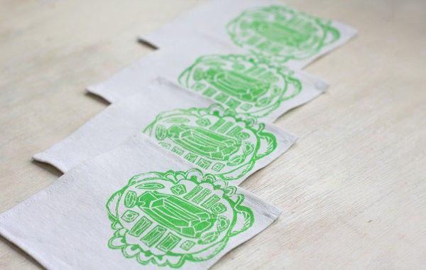 napkins, linen, brika, screenprint, textiles