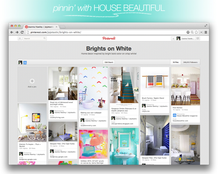 Jojotastic + House Beautiful pinboard http://pinterest.com/jojotastic/brights-on-white