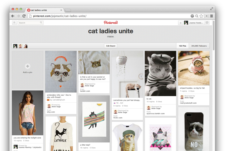cat ladies unite - a Pinterest board