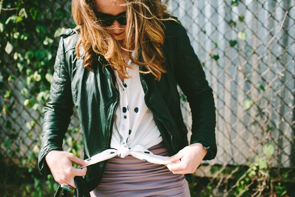 moto jacket + mini skirt