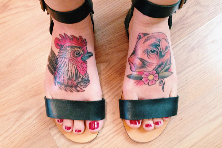 rooster and pig tattoos