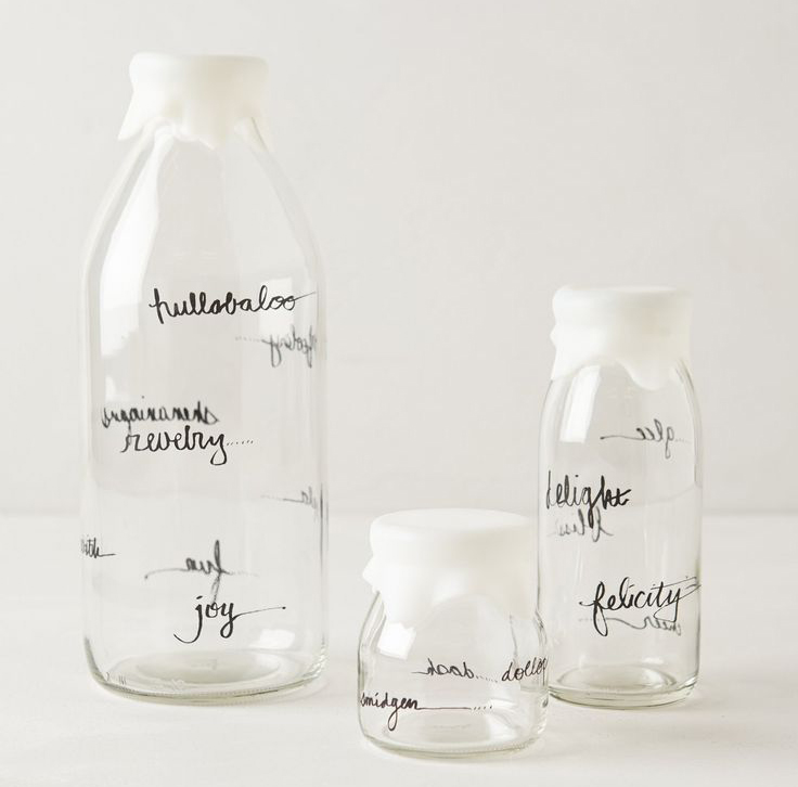 glass dairy bottles from Anthropologie