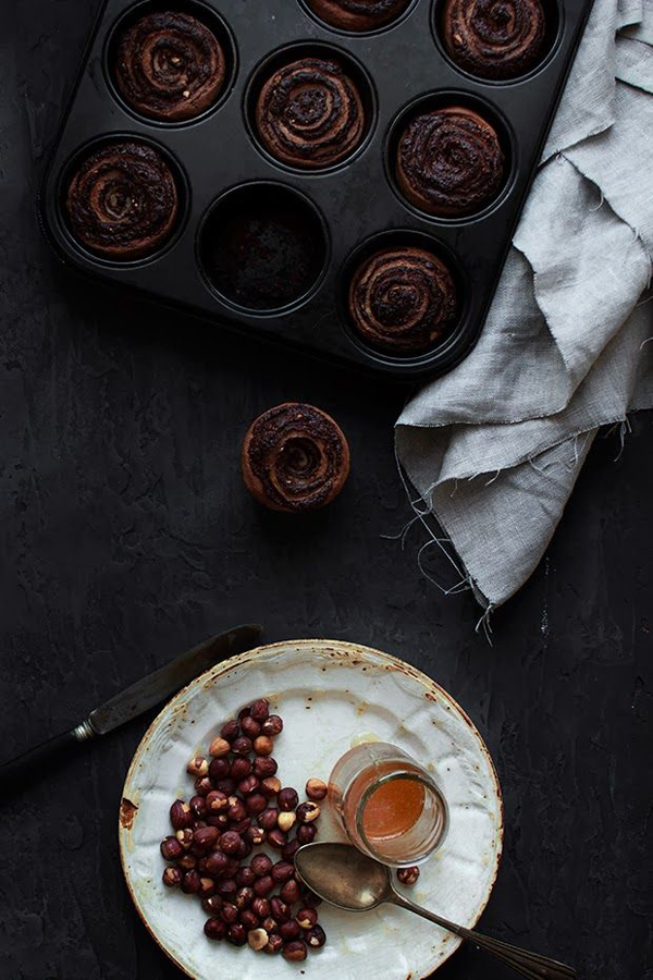 Chocolate, Hazelnuts Swirl Spelt Buns