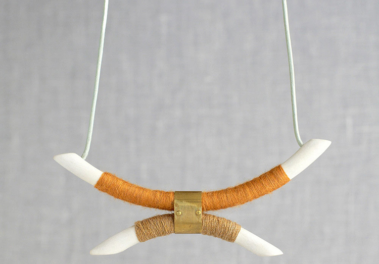 wrapped porcelain necklace