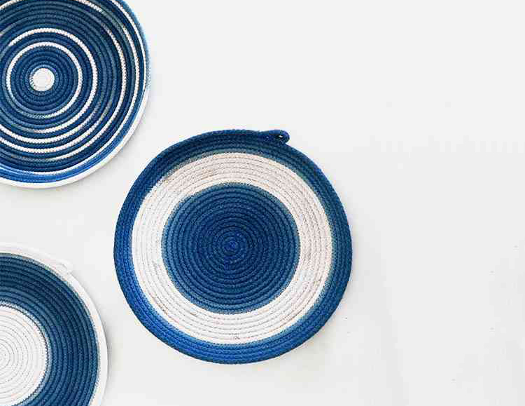 blue woven bowls