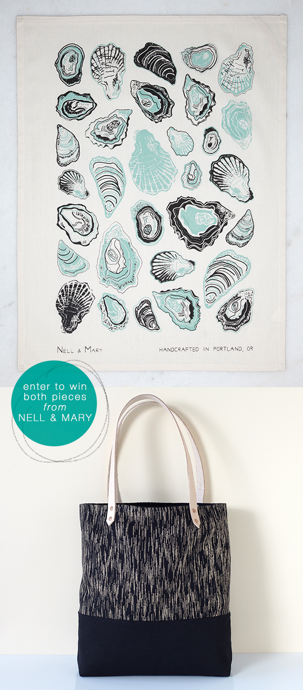 enter to win 1 tote bag and 1 tea towel from Nell & Mary #giveaway