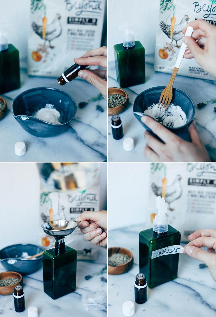 DIY natural pet spa // lavender refreshing spray #BeyondPartners
