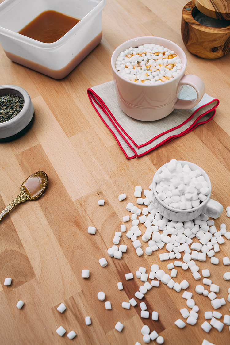 3 Easy Recipes To Fancy Up Your Cocoa - like this sea salt + lavender + caramel hot cocoa