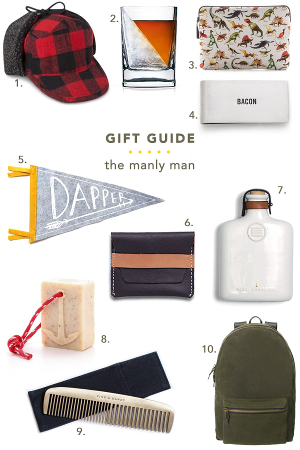 gift guide // the manly man - perfect gifts for any man in your life, from boyfriend to father to brother