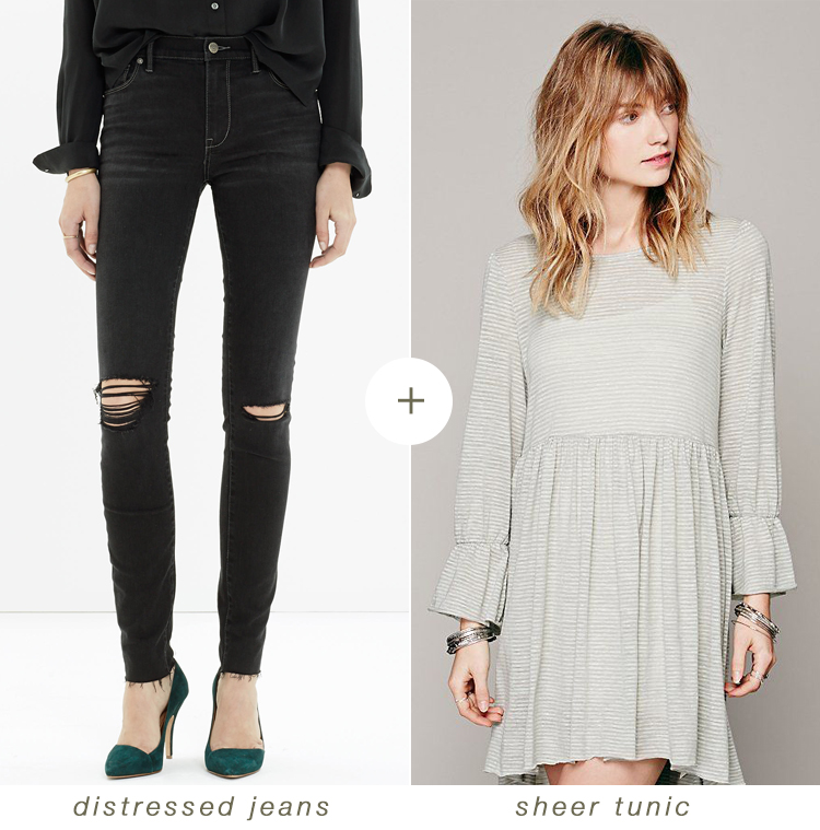 what i'm packing for the holidays: distressed jeans + a sheer tunic