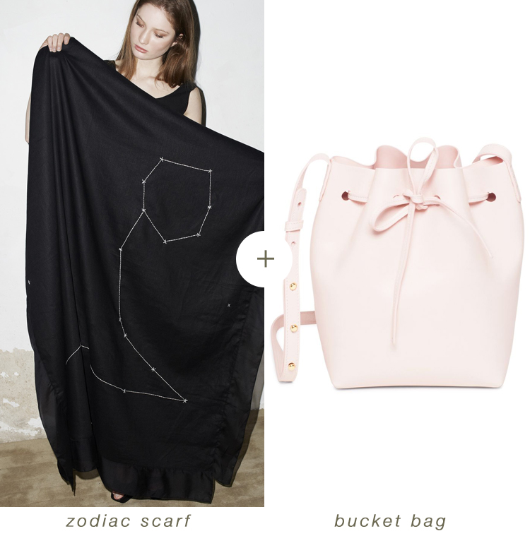 what i'm packing for the holidays: embroidered silk scarf + bucket bag