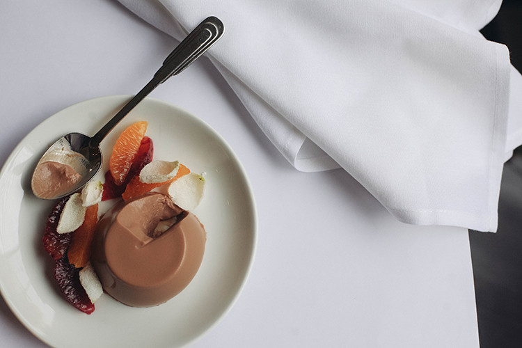 chocolate panna cotta with citrus & candied rose petals recipe