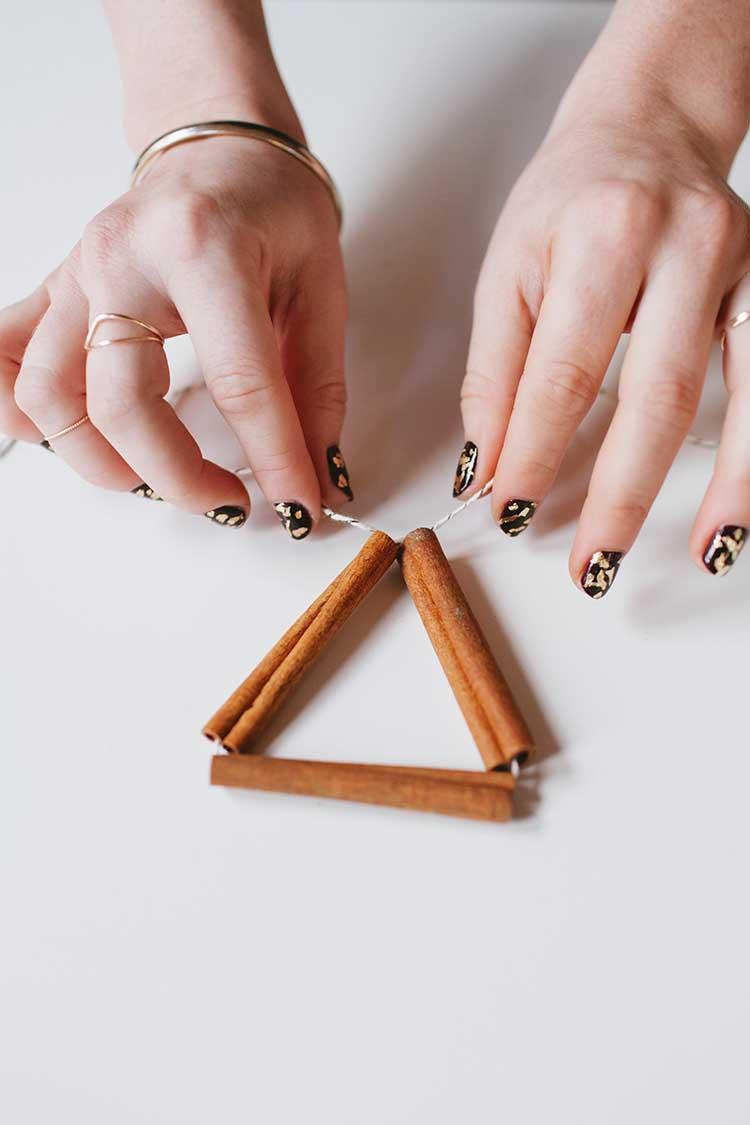 cinnamon stick himmeli diy