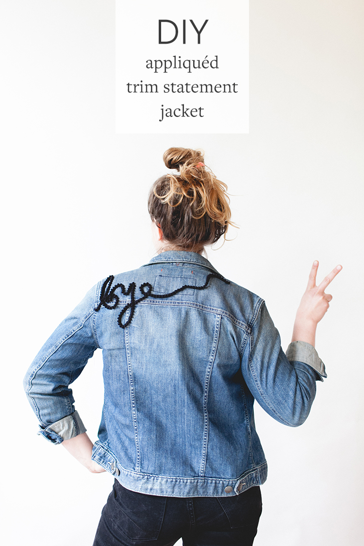 add a statement to your jacket with this appliquéd trim DIY! for the full instructions head to jojotastic.com