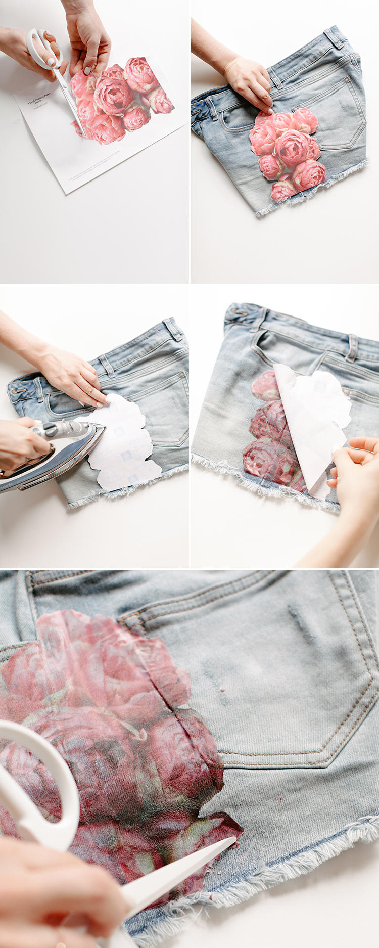 Add a modern-boho look to your favorite summer cutoffs with this super easy floral photo transfer DIY! For the full tutorial and more easy fashion crafts head to jojotastic.com
