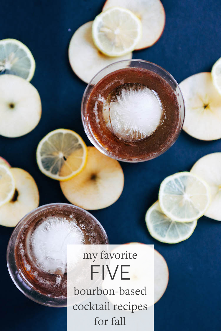 my top 5 bourbon-based cocktail recipes for fall — Get all the details on how to make the spiced apple old fashioned, the fig manhattan, the apple + grilled thymed smash, mulled wine old fashioned, and the quince hot toddy — all on Jojotastic.com