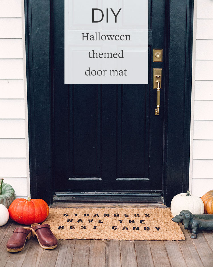 Looking for a cheap and easy way to decorate for Halloween? This DIY doormat is the perfect project and costs less than $10 to make! Head to jojotastic.com for more cost-effective do-it-yourself projects + pin for later