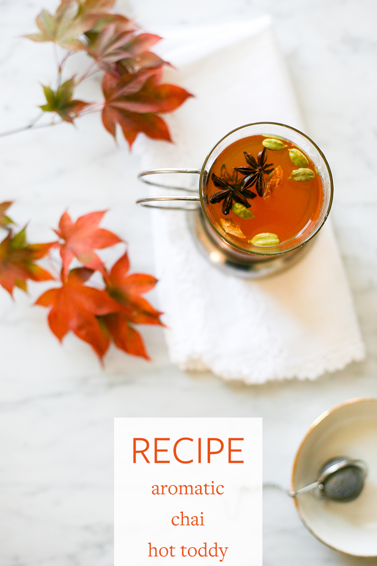 Happy fall! It's time to relax, read a good book, and sip on this aromatic chai and black tea hot toddy. Get the full recipe on Jojotastic.com!