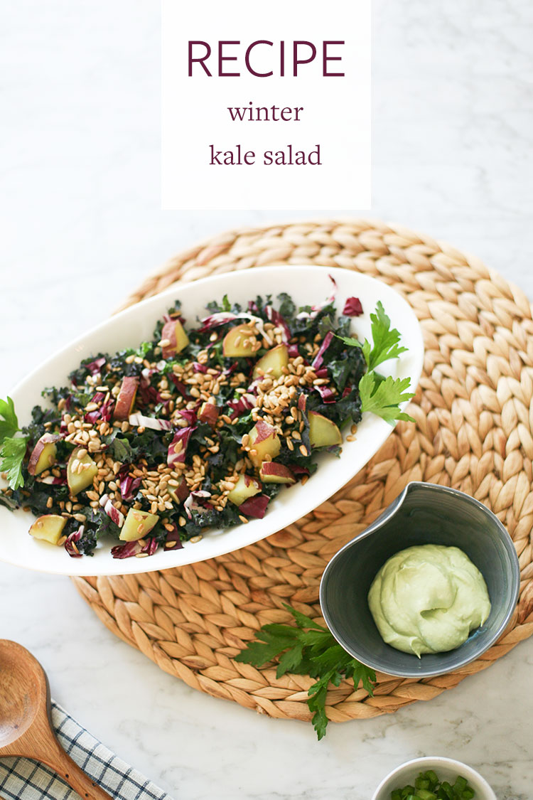 A healthy, delicious, and comforting kale salad recipe perfect for winter! With roasted sweet potato, sunflower seeds, and creamy avocado dressing. A hearty and filling favorite! Get the full recipe on Jojotastic.com + pin for later