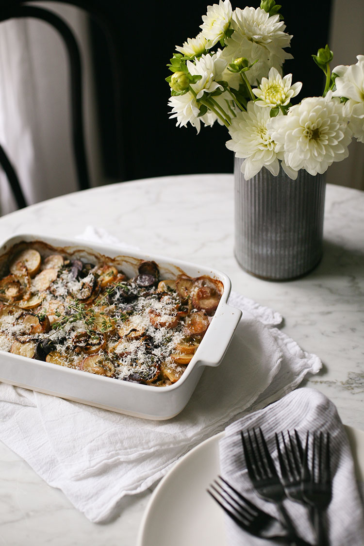 For a  yummy side dish for Thanksgiving, try this easy and delicious tri-color potato gratin! It features 3 different colors of potatoes for a fun twist and can be ready to pop-in the oven in 20 minutes - for the full recipe and more delicious side-dishes head to jojotastic.com.