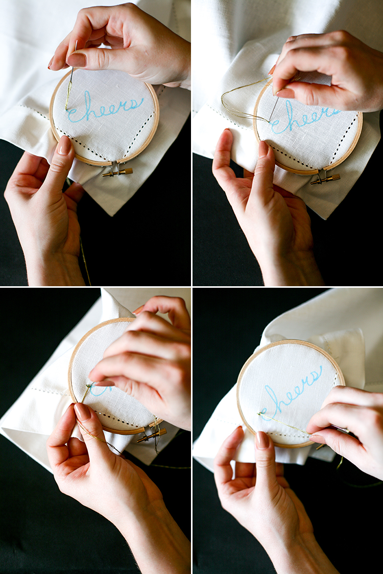 For a quick and easy DIY to ring in the year in festive style, try chain stitching your napkins! for the full step-by-step tutorial, head to jojotastic.com