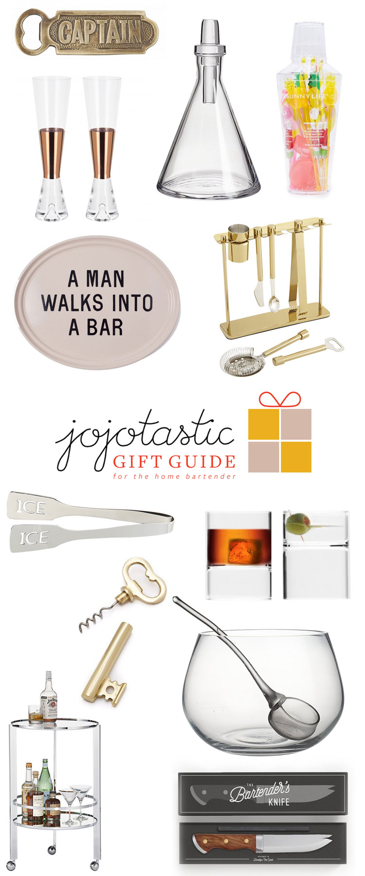 Ultimate Gift Guide: for the home bartender and hostess! Over 30 unique gift ideas and stocking stuffers — get the full guide on Jojotastic.com