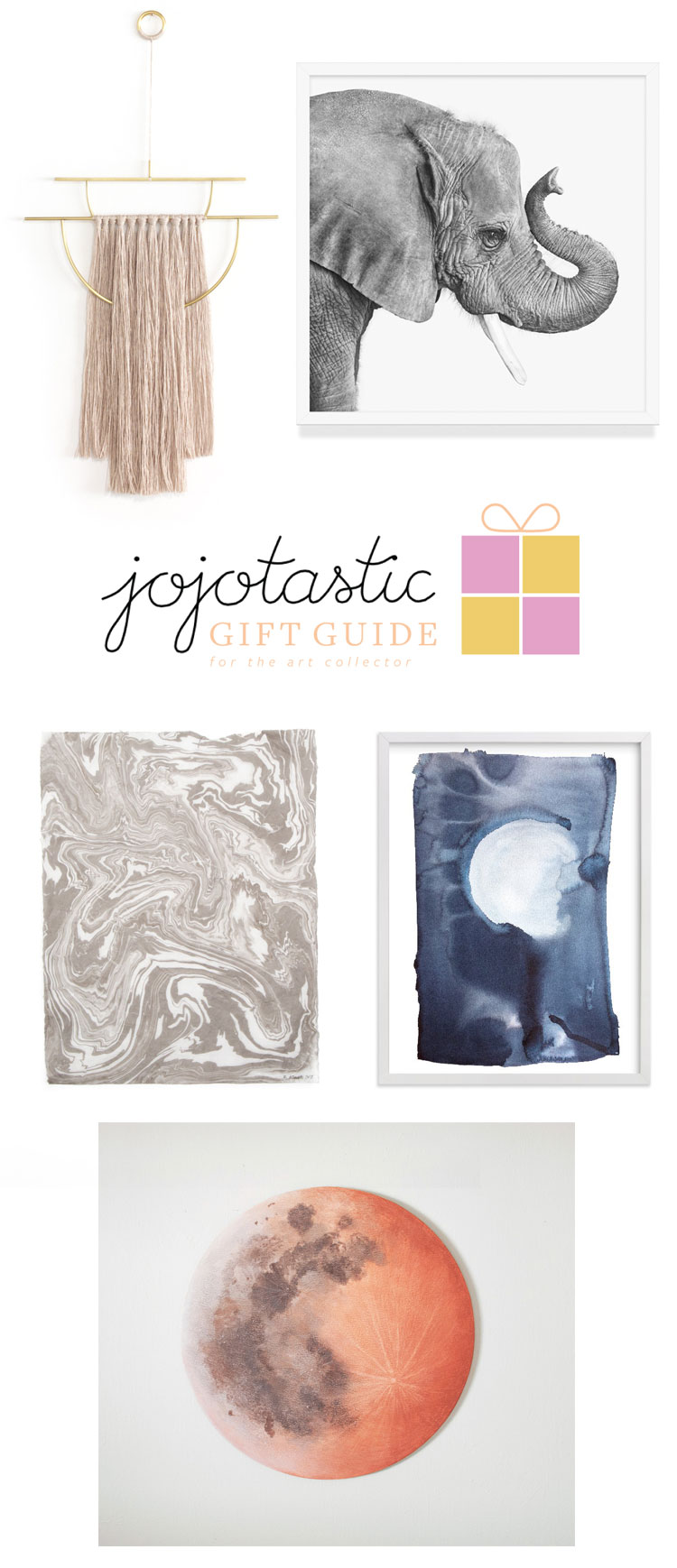 the ultimate gift guide for the art collector, art connoisseur, or just anyone who loves to hang unique kinds of art in their home! Shop the full gift guide on Jojotastic.com