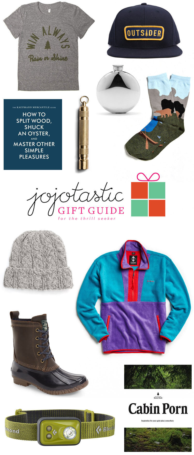 the ultimate gift guide for the thrill seeker / adventurer —great gift ideas for this holiday season for the outdoorsy type. find more gift ideas on Jojotastic.com