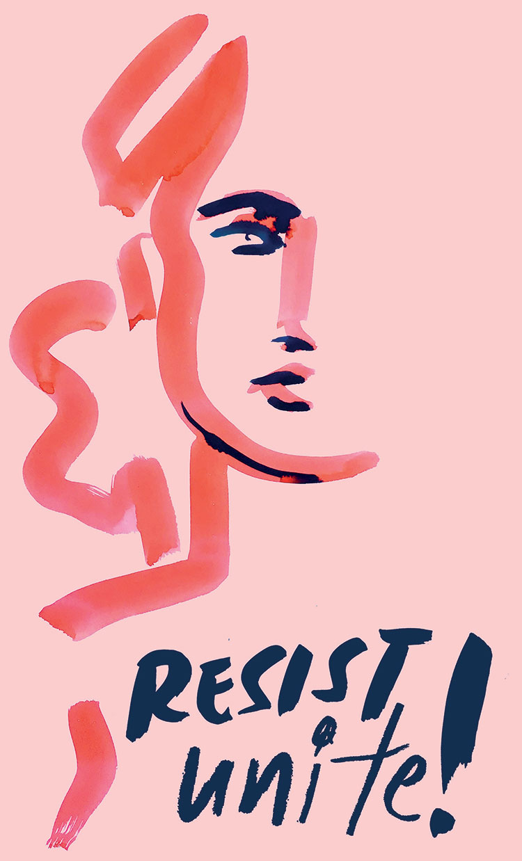 inauguration protest artwork by @samhahn. free printable download art for women's marches to protest trump.