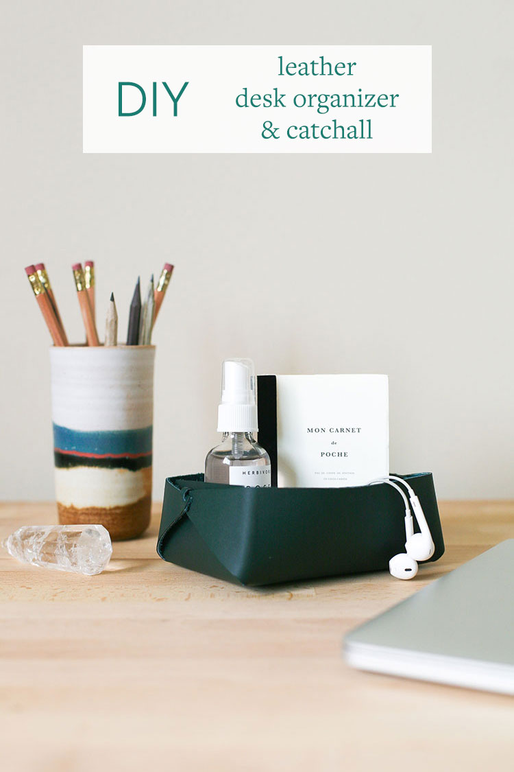 Tidy up your desk with a super easy DIY Leather Desk Organizer and Catchall! Learn how to make one from a single piece of leather at jojotastic.com