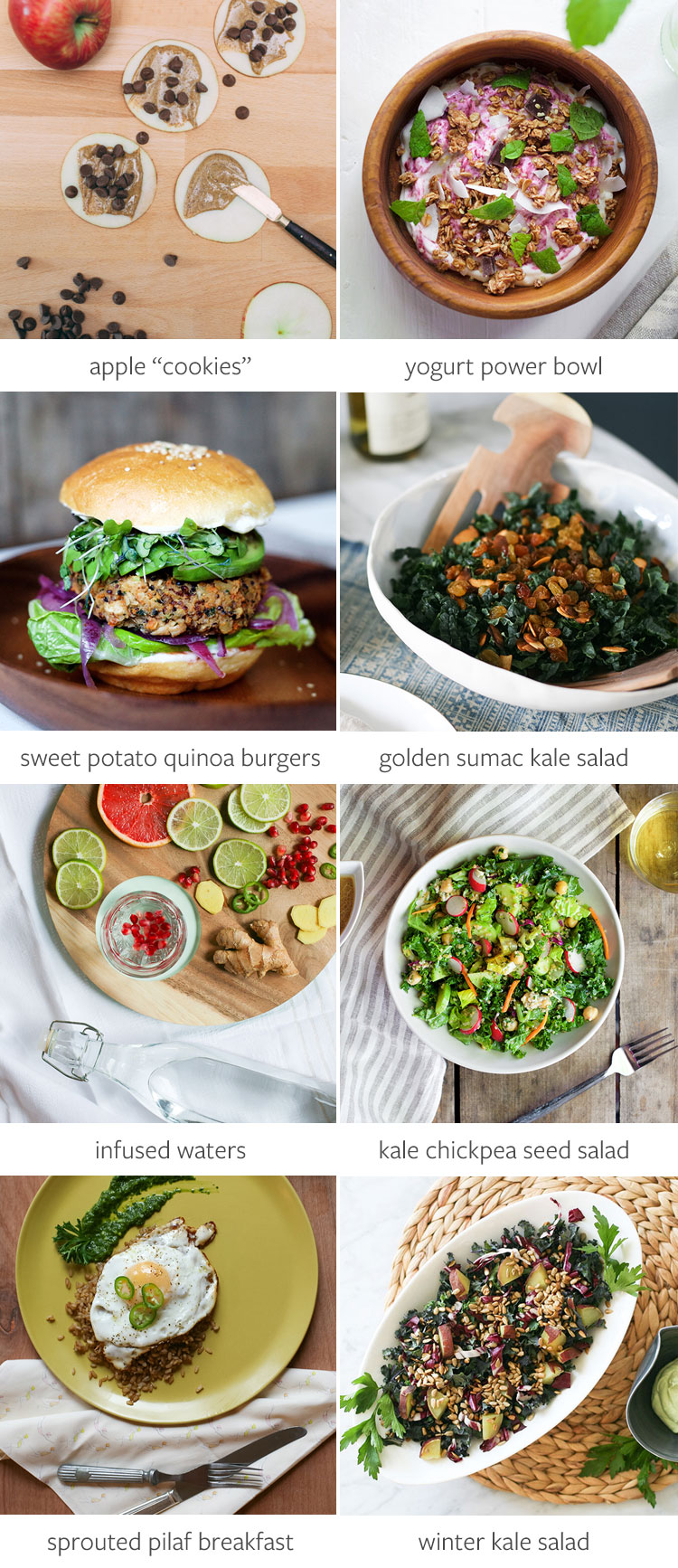 "8 delicious and healthy recipes to help you maintain your new years resolutions and fitness goals! these easy recipes include kale salad, sprouted rice pilaf with cilantro pesto, sweet potato quinoa burgers, apple ""cookies,"" yogurt and granola power bowl and more! Get all of the recipes on Jojotastic.com"