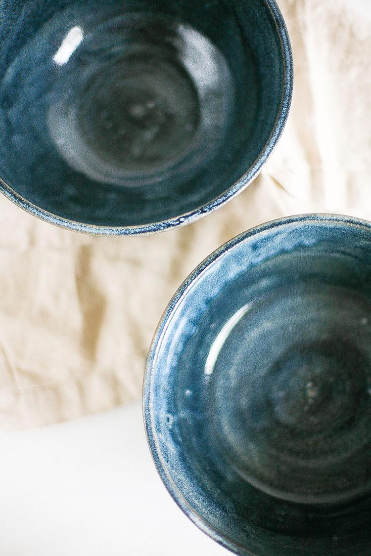 handmade ceramics from Seattle. navy blue glaze earthenware berry bowl.