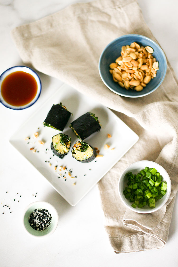 Looking for a healthy snack? Try this recipe for healthy veggie sushi rolls with omelet eggs, swiss chard, peanuts, coconut, and more!