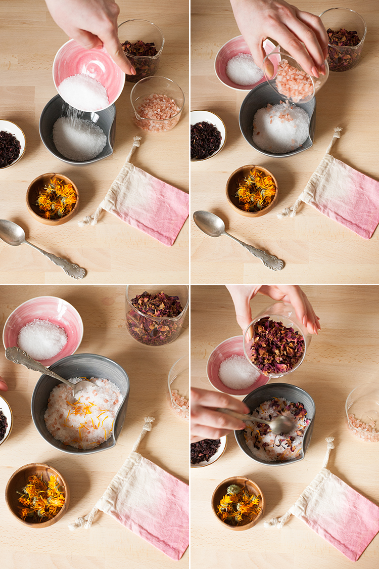 Learn how to make your own floral bath salts with Himalayan pink salt, epsom salts, and dried flowers like rose, hibiscus, and calendula for the ultimate in self-care. Package them in a DIY dip dye canvas pouch and they are a great gift for Valentine's Day! Learn how on Jojotastic.com