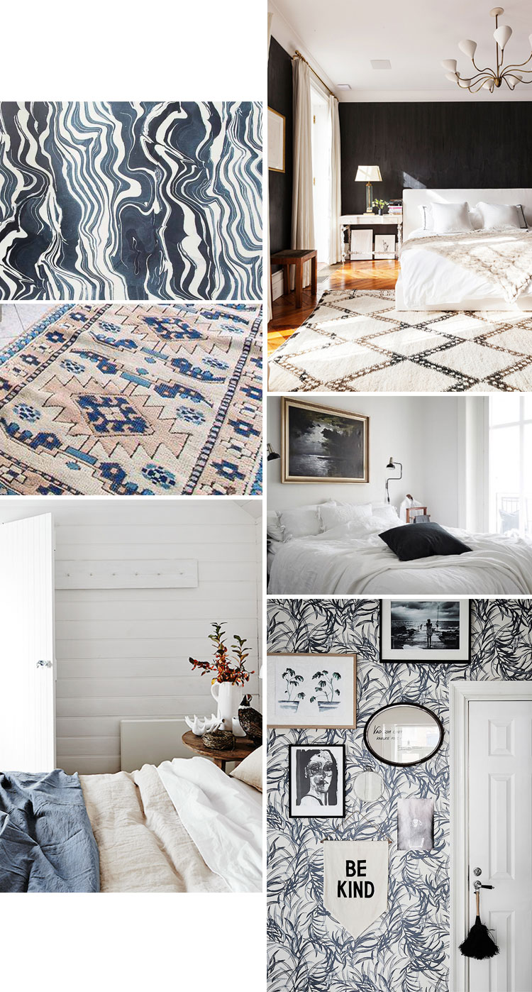 blue, white, and black boho bedroom moodboard. it's officially time to start my next renovation project, the master bedroom in my tiny house. get the full design plan and home decor inspiration on jojotastic.com