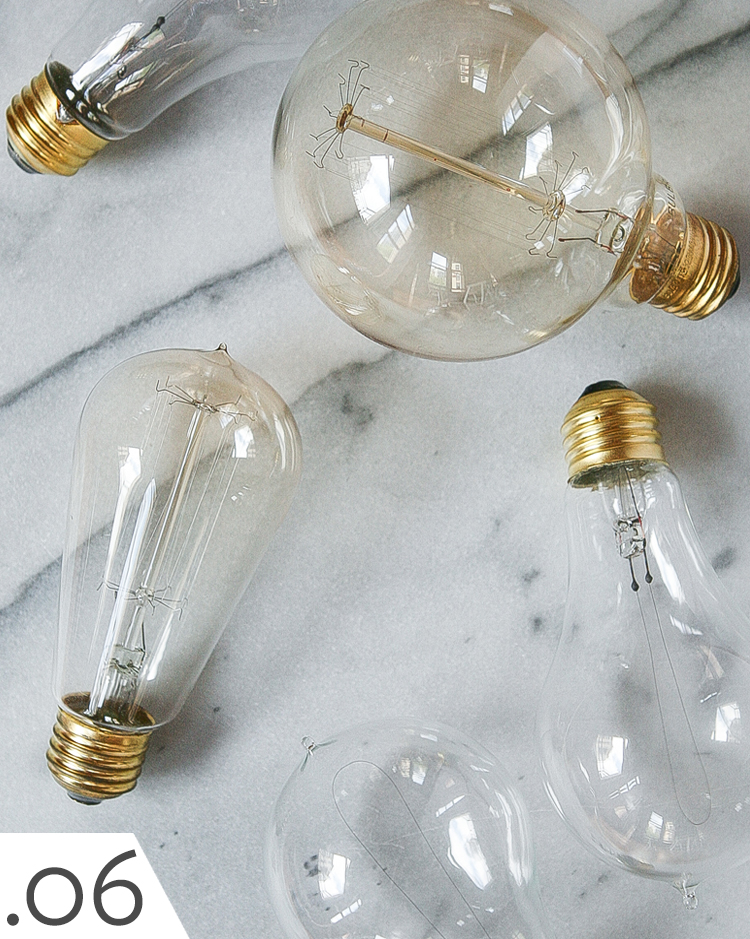 collection of Edison bulbs and LED vintage looking lightbulbs.