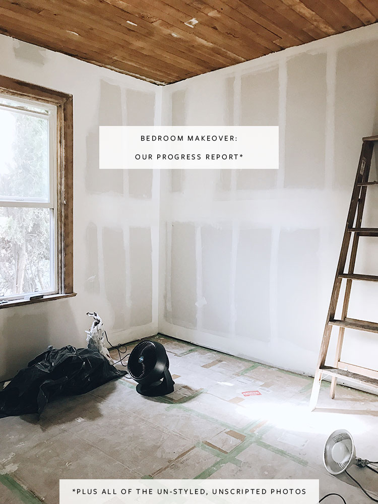 progress report for the bedroom makeover in my tiny historic house. we found 19 layers of vintage wallpaper, fixed drywall, and restored a shiplap ceiling! Read all about our renovation on jojotastic.com