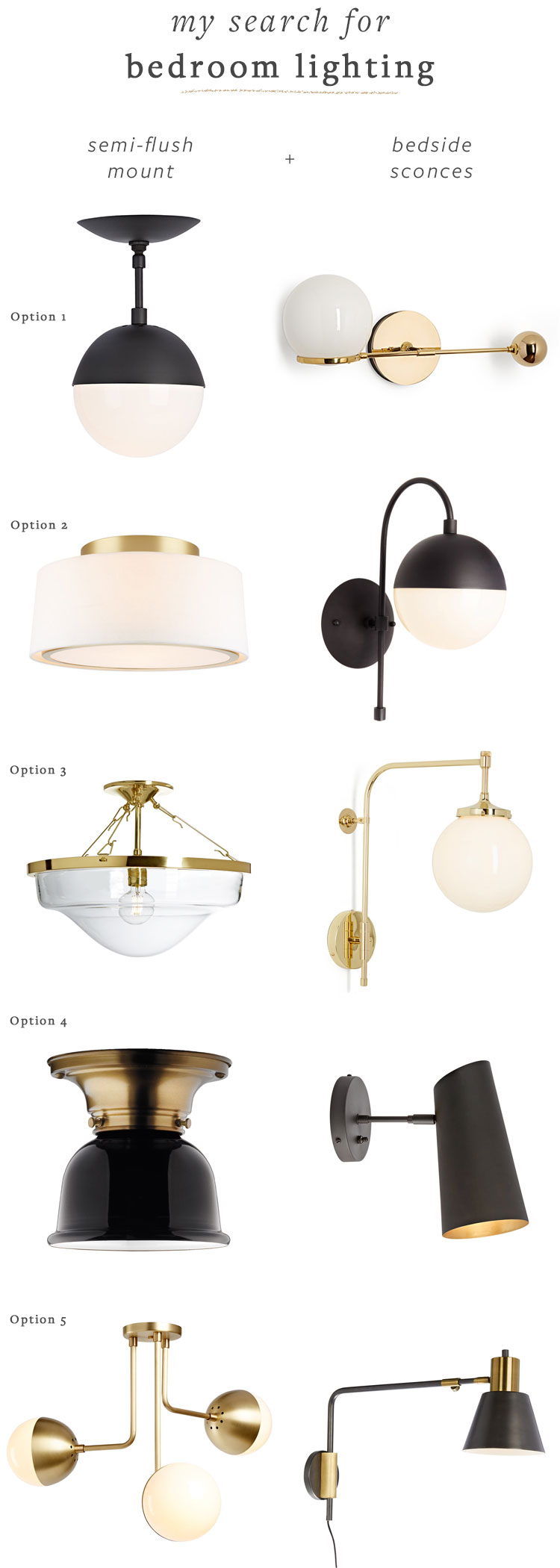 Matte black and brass bedroom lighting fixtures round up. Flush-mount, semi-flush mount, and bedside sconces from @rejuvenationinc for my bedroom renovation makeover. See more on jojotastic.com