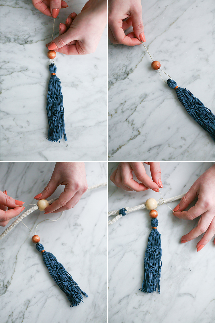 Add a bohemian finishing touch to your dining room interior design with these DIY boho curtain tie backs with wooden beads and handmade tassels! Get the full craft tutorial on Jojotastic.com