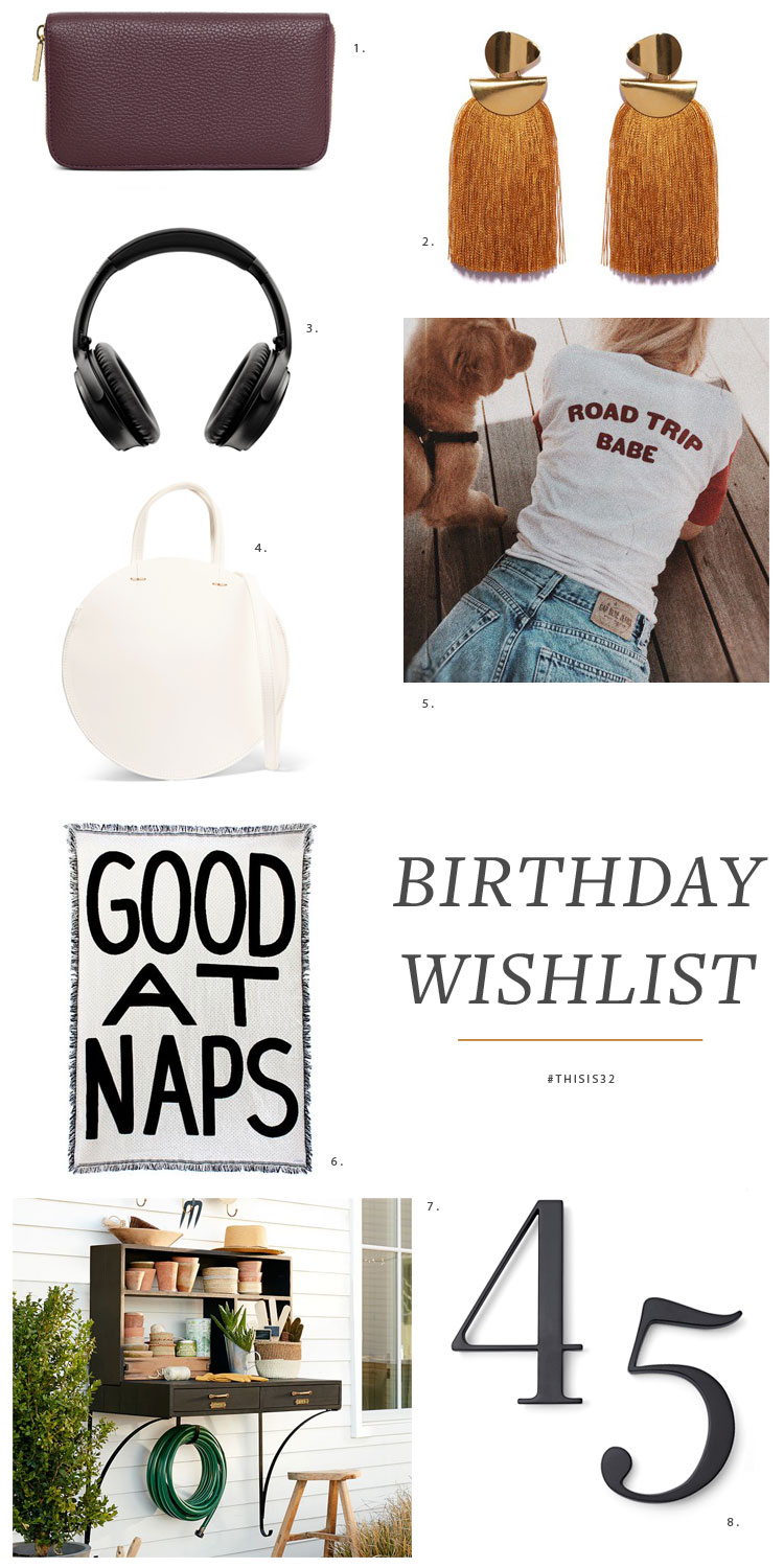 My 32nd birthday is coming up and I've got quite a wishlist of gifts: handmade earrings, a leather wallet, wireless headphones, new house numbers, and even a potting station! More on Jojotastic.com