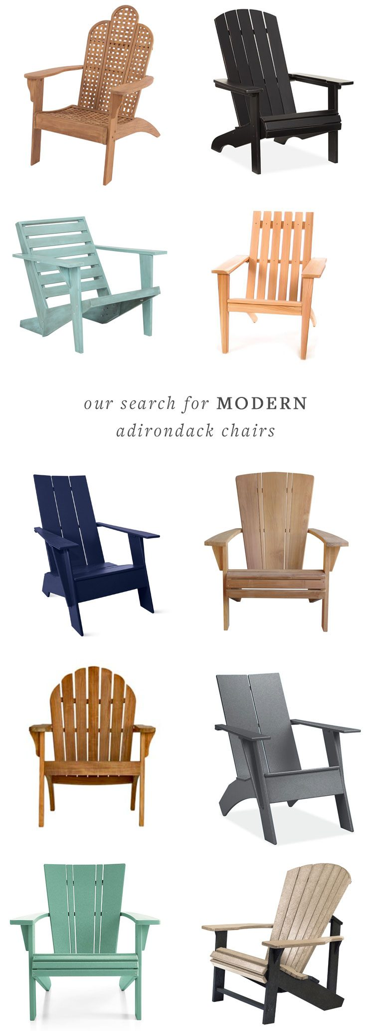 our search for modern adirondack chairs, the perfect addition for summertime entertaining on the deck or patio. via @jojotastic   jojotastic.com #adirondackchairs #outdoordecor #patio #deck #outdoorfurniture #outdoorseating