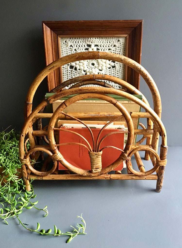 please buy this so I don't: vintage rattan magazine rack, a boho interior design must have accessory. via jojotastic, all Etsy sources on jojotastic.com