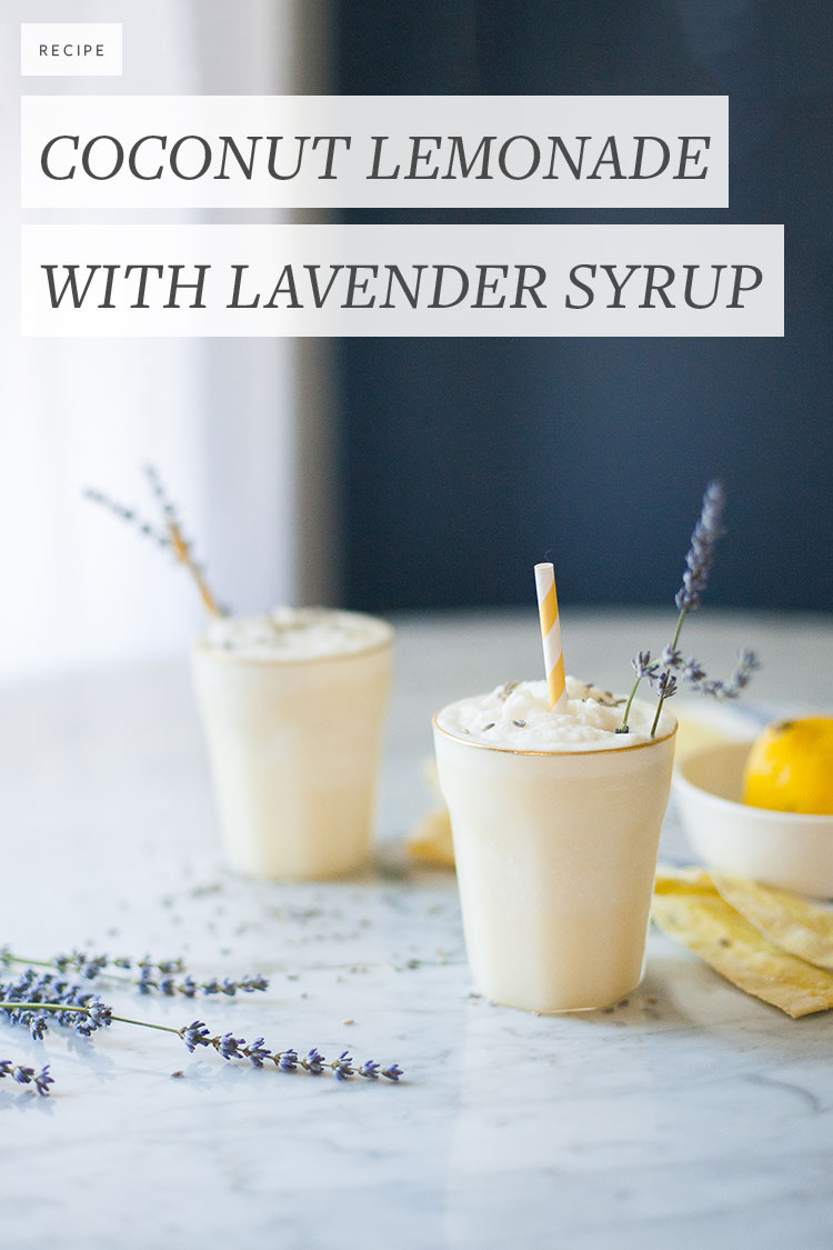 Recipe for coconut cream lemonade cocktail with lavender simple syrup. The refreshing way to stay cool this summer! Get the full recipe on Jojotastic.com