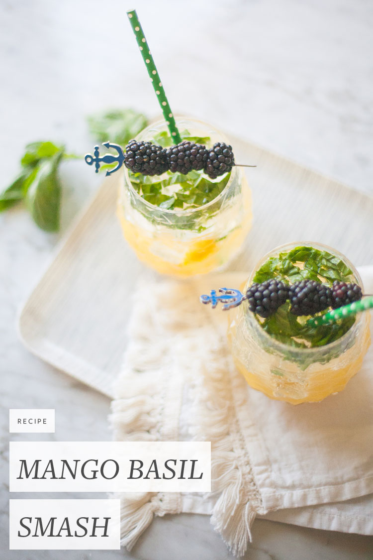 easy summer cocktail recipe for Mango Basil Bourbon Smash on jojotastic.com