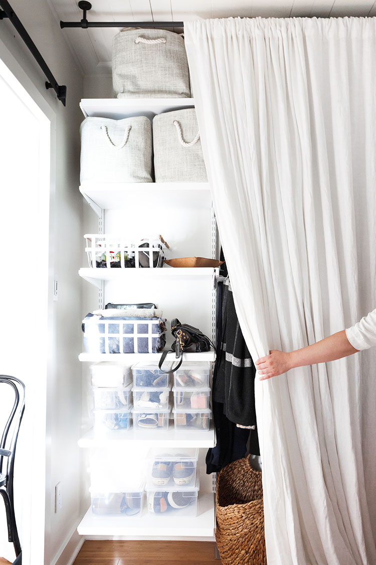 It's reveal day for my bedroom makeover and renovation! Design details include a restored shiplap ceiling, @barnandwillow custom linen drapes, @potterybarn dresser, and a great small space solution for a room without a closet! Get the entire source list on Jojotastic.com