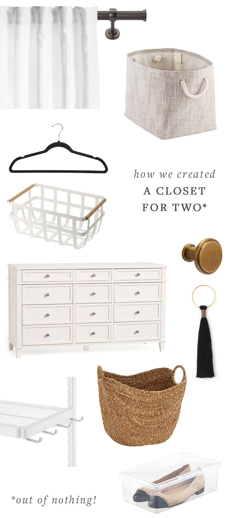 our bedroom makeover details, how we added a closet to a small space using elfa shelving from the container store, @potterybarn dresser, @barnandwillow custom curtains, and baskets from @allmodern. get the details and full source list on jojotastic.com