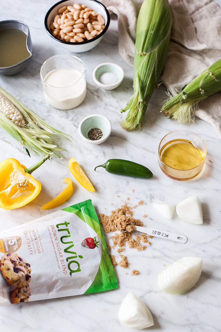 The perfect no-cook recipe for a hot day: Grilled Sweet Corn Gazpacho made with @TruviaBrand Brown Sugar Blend. Get the full recipe on Jojotastic.com #TasteTruvia #ad
