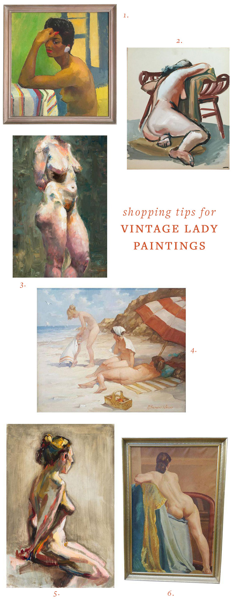vintage naked lady and nude portrait painting round up + shopping tips to score the best vintage piece! get all the resources on jojotastic.com