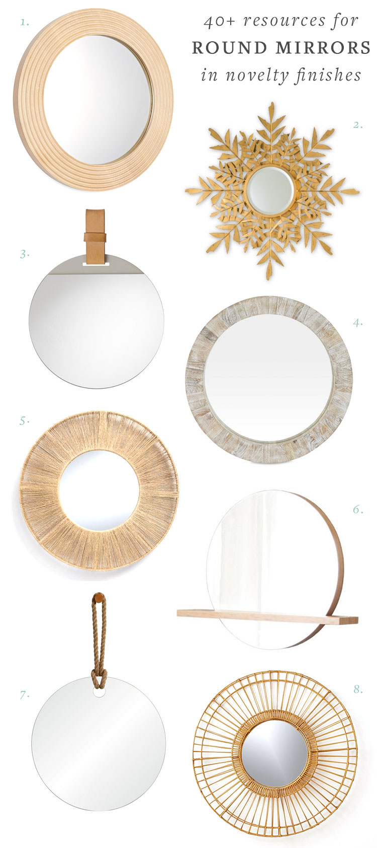 Looking for the perfect round mirror for your bathroom, dining room, living room, or bedroom? I've rounded up 40+ resources for stylish round mirrors! Get the full round up an source list on jojotastic.com